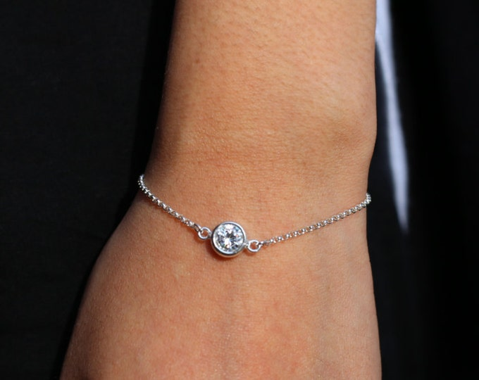 CZ diamond Bracelet - Sterling silver bracelet with Cubic Zirconia  EB020