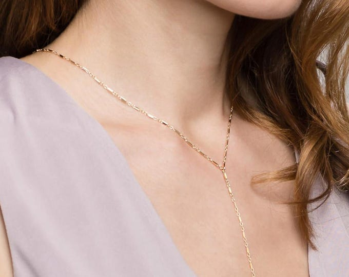 Shiny Bar Chain Lariat - Y necklace in 14K Gold filled or Sterling Silver