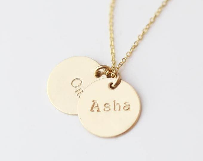 Personalized Name Disc necklace 11mm / Personalized Round Coin discGold filled or Sterling silver // Gift for her EP017