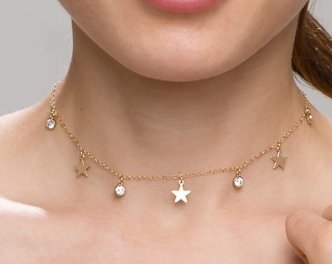 Star and CZ Dangle Choker // Charm Necklace // Jewelry Gift for Her