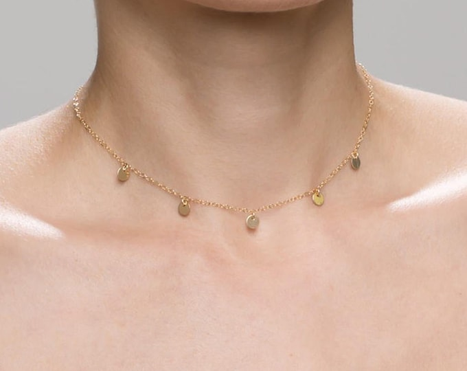 Mini Disc Dangle Necklace / Gold Choker Necklace / Gift for Her  EN037
