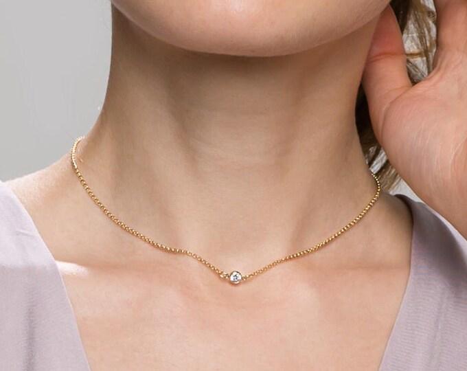 CZ Diamond Choker // Dainty Delicate Cubic Zirconia Necklace / Diamond short chain necklace / simple diamond jewelry / Gifts for her //EC17
