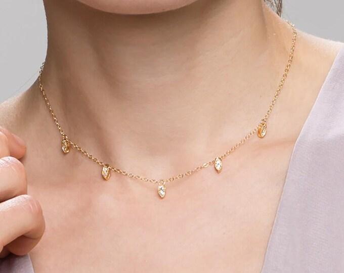 Oval CZ Dangle Choker Necklace // Dainty Choker // Dainty Necklace