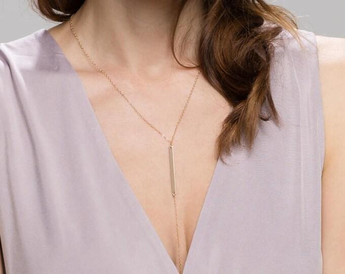 Drop Bar Necklace .Simple gold Y Necklace . Gold bar Lariat Necklace      EL019