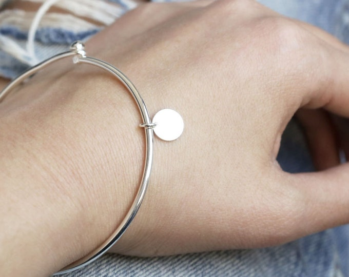 Personalized Bangle // Custom initial charm bracelets in sterling silver , Silver initial bangles , Bridesmaids gift