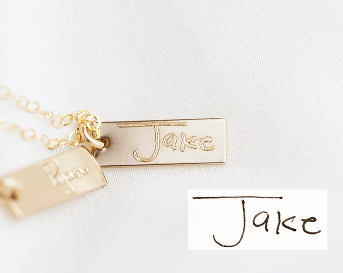 Personalized Handwriting  Mini Bar Necklace /  Mini Drop Bar Necklace with actual handwriting  - Custom name plate necklace, Mom necklace
