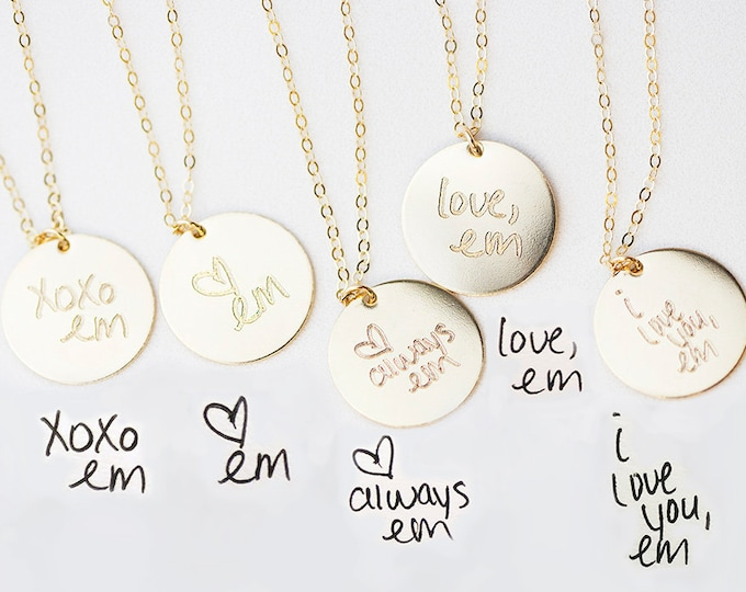 Personalized Handwriting Necklace // Keepsake Jewelry // Child hand written necklace Mom gift // Gift for her // Personalized disc Necklace