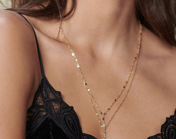 Gold lariat Necklace // Shinny Lace Chain Lariat - Y necklace in 14K Gold filled or Sterling Silver
