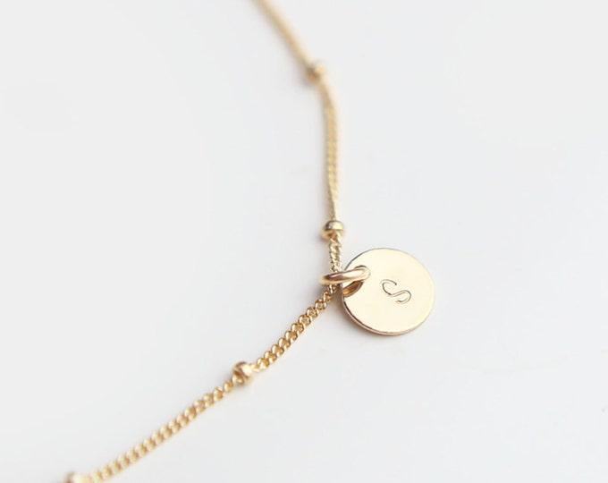 Monogram bracelet . layering bracelet . dainty beaded bracelet // Bridesmaids Jewelry Gift