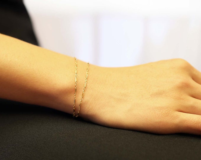 Shinny Double chain layered Bracelet // simple and delicate thin wrap Chain Bracelet in gold filled or sterling silver