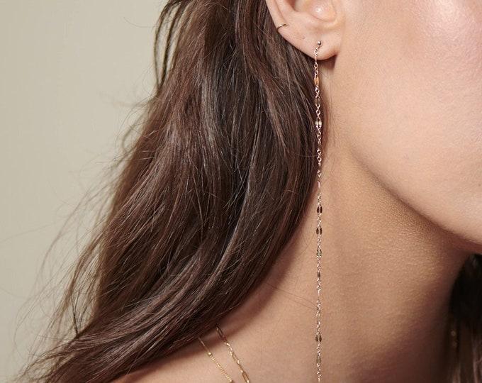 Double shinny chain hang earrings / long earrings / gold stud earrings with chain drops / dainty drop earrings / Minimalist jewelry