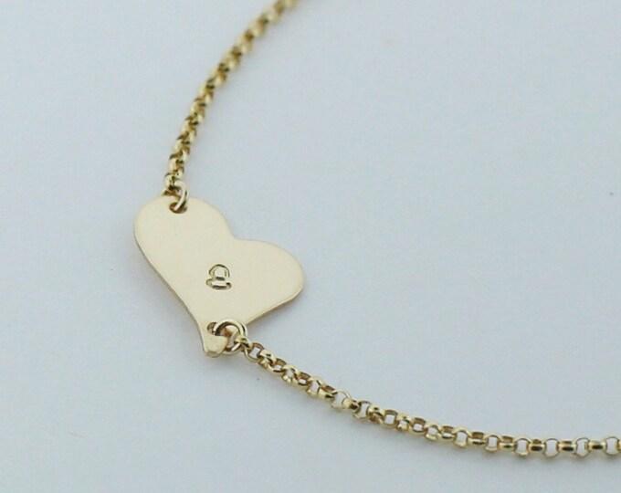 Initial Heart Bracelets / Dainty Heart Bracelets / Personalized sideway heart initial bracelet - personalized gift, gift for her   EB015