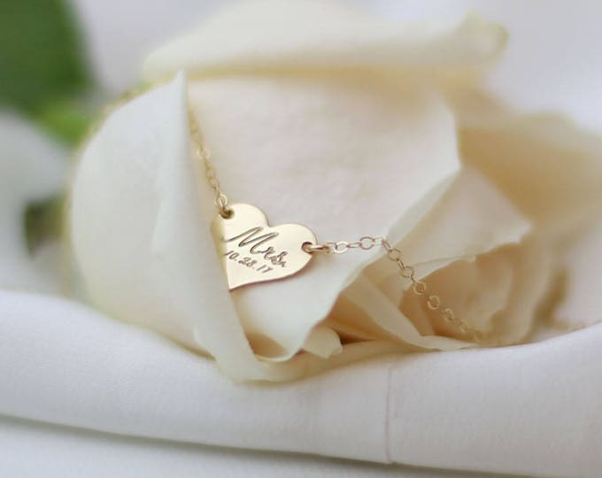 Wedding date Mrs Heart Charm Necklace // Bridal shower gift // Future Mrs gift // Bride to be // Custom handwriting necklace