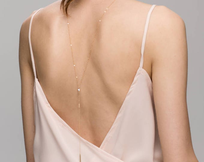 Single CZ Back Necklace / Bridal Jewelry / Lariat & Y Necklace // Wedding necklace  EL030