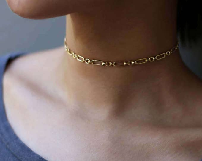 Bold Halo Bar Chain Choker Necklace // Boho style Bohemian Short Chain Choker necklaces // Unique pattern chain necklace for her E&E PROJECT