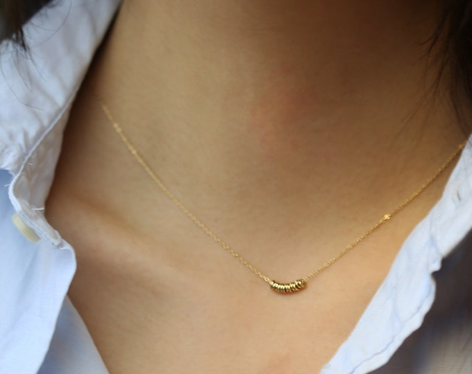 Tiny beads choker necklace - Minimalist simple beads short necklace in Gold filled or Sterling silver / Gifts under 30 //EC13