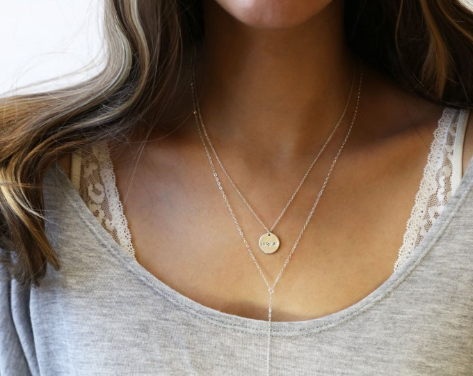 Combo set of two, Name Disc and Lariat y necklace Layering necklace - Round Coin disc and simple lariat Layered Necklaces//