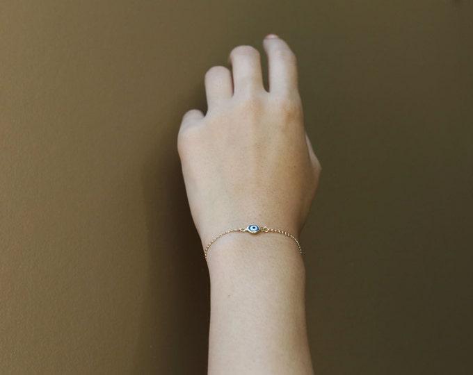 Evil eye bracelet 14K gold filled // macrame-style // chain bracelets with evil eye charm // evil eye jewelry   EB022