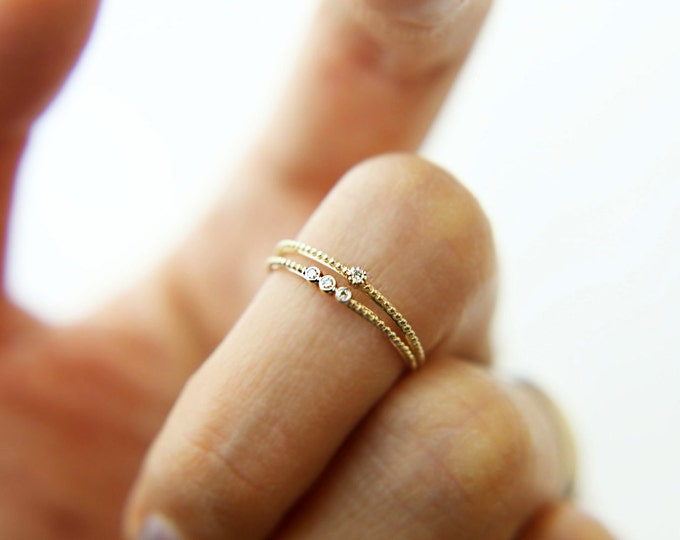 14K Gold Knuckle Ring with Small Diamond / 14K solid gold ring / gold stacking ring / fashion diamond jewelry / gold open ring