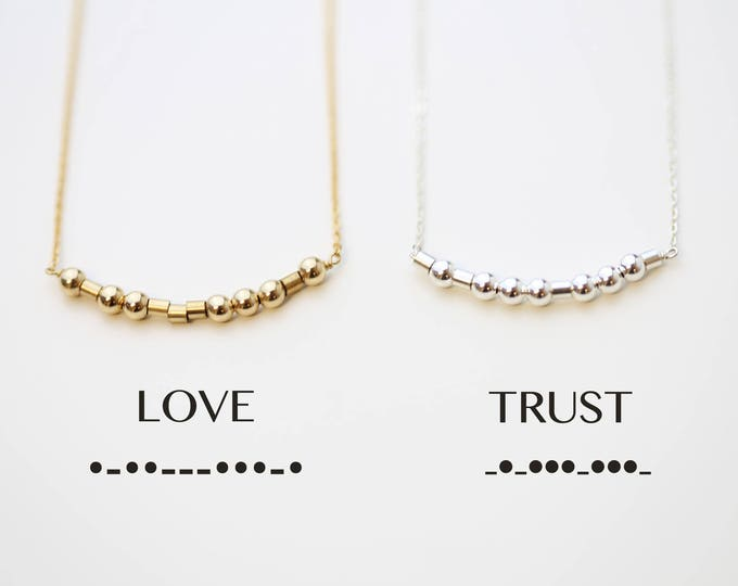 Love Morse code necklace // Personalized Secret code necklace // custom jewelry- Sisters, Graduation, Bridesmaid personalized gifts for her