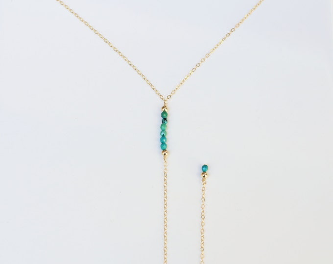Beaded Lariat Necklace . Gemstone Beads . Gold filled and Sterling silver Y necklace . Drop Bar necklace . Gift for her      EL015