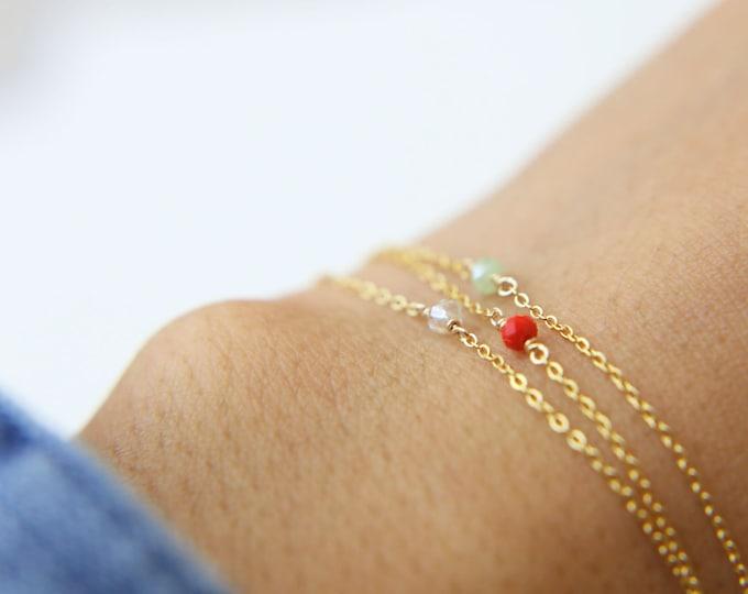 Dainty Gemstone Layered Bracelet Set // Delicate Bracelets in gold filled and sterling silver // Bead chain bracelets // dainty bracelets