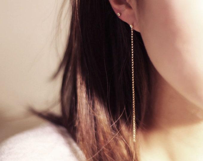 Gold chain hang earrings / long earrings / gold stud earrings with chain drops / dainty drop earrings / Minimalist jewelry