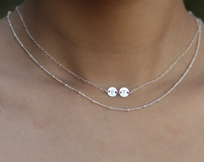 Personalized Mini Initial Disc Necklace / Custom Hand Stamped . Dainty Necklace . Initial Choker  EP001