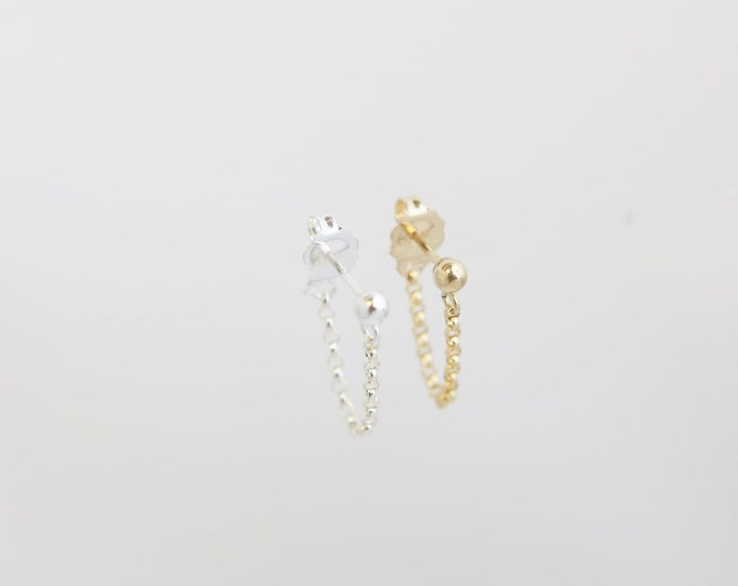 Chained earring - Sterling Silver or 14K Gold filled chain earring   EE015