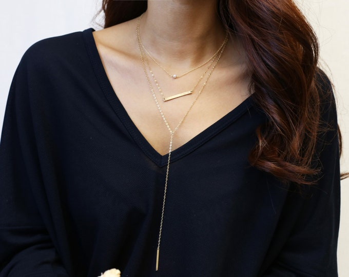 Layering necklace set - with Simple lariat necklace // Skinny name bar necklace // Mini pearl necklace    ES013