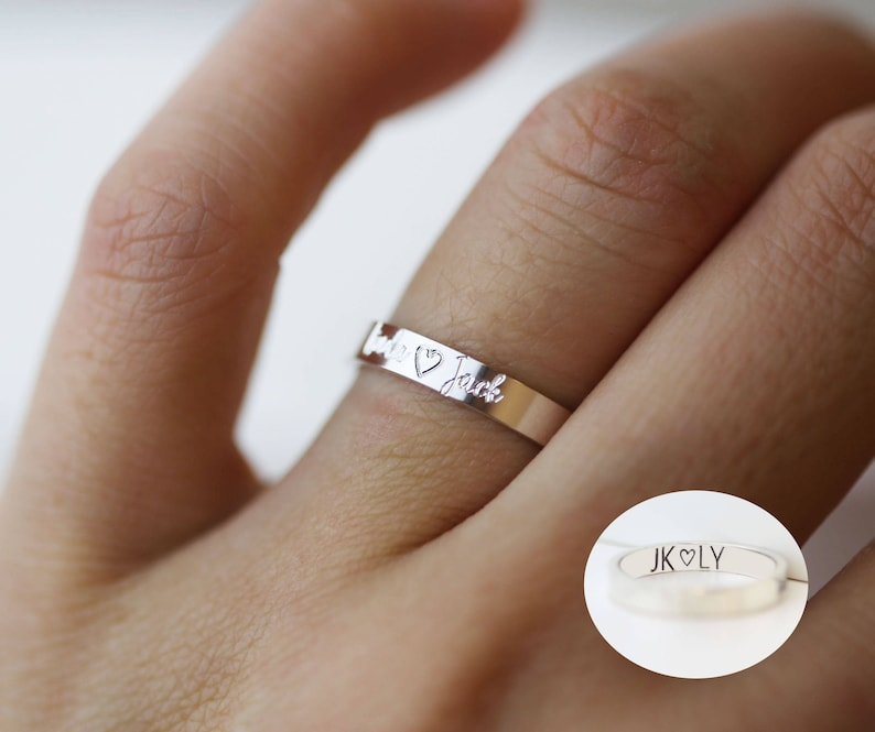 Personalized Rings Ring With Custom Engraved Inside Engraving Handwriting Ring Silver Band Ring Wedding Ring Personalized Jewelry