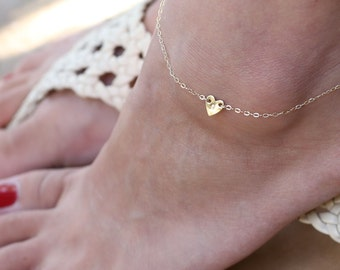 Personalized Double Heart Anklet - 14K Gold filled   EA001