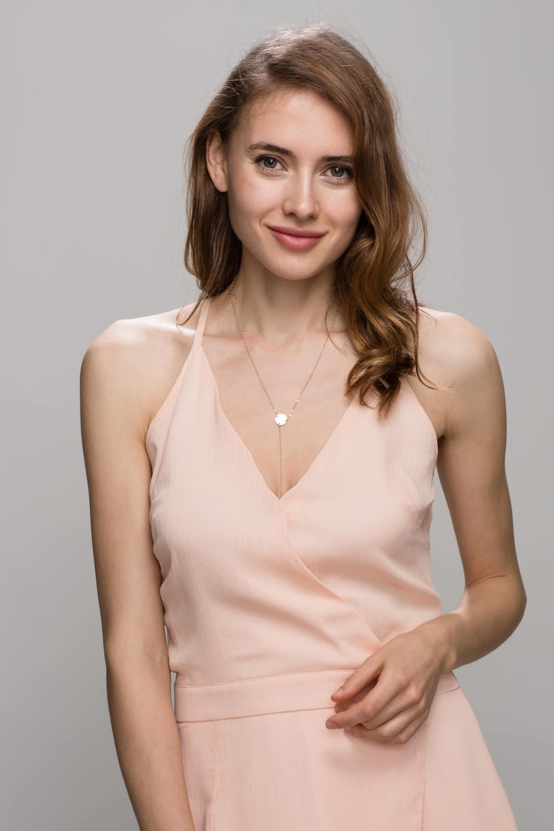 c3a34a8ae8 Gold lariat necklace   Y necklace with gold disc