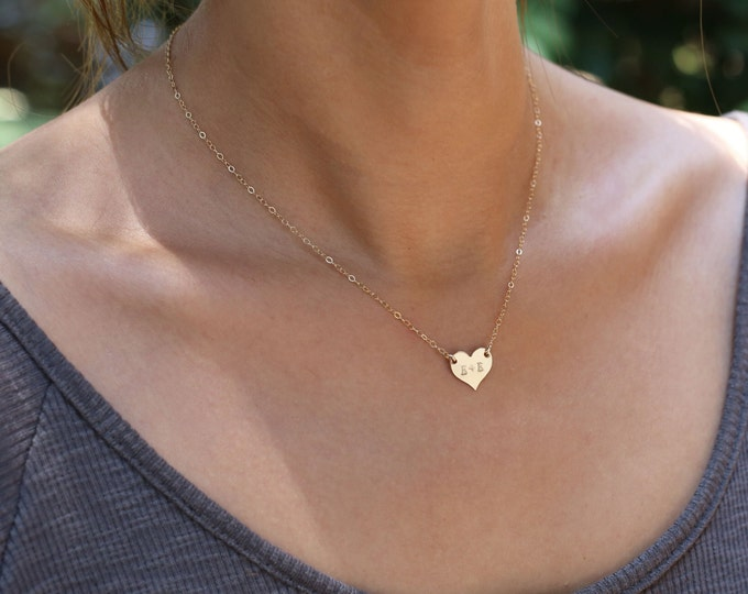 Personalized Heart Necklace - Gold filled heart necklace initial necklace / gold heart necklace // Valentines Gift for her under 30 /  EP015