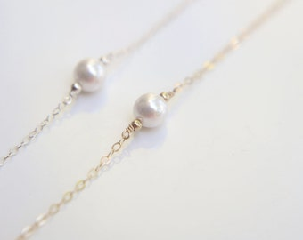 Simple pearl Bracelet - Sterling silver and gold filled //June's birthstone: pearl  EB008