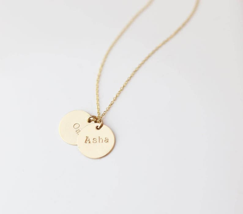 fbee3c2cc611 Personalized Name Disc necklace 11mm   Personalized Round Coin