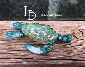 MADE to ORDER One Handmade in USA  Blown Borosilicate Glass Sea Turtle Sculpture Sea Life Decoration Glass Ocean Art Beach House Decor