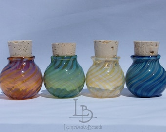 One Handmade in USA Blown Glass MINI SIZE Jar Handmade Glass Apothecary Spice Stash Pocket Cork Herb Kitchen Jars Mini Urns Potion Spell Jar