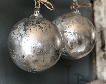 One Handmade in USA Ornament Hand Blown Glass Vintage Faux Mercury Glass Look with Silver Leaf Shabby Chic Ornament Gifts Decor Handmade