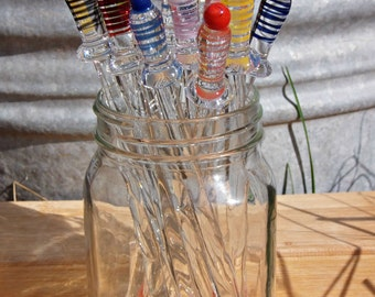 Handmade Glass Drink Stirrers Swizzle Sticks 6pk.