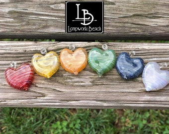 One Single Handmade in USA Glass MINI SIZE Heart Ornament Glass Heart Girlfriend Love Equality Valentine's Day Gifts Rainbow Wedding Favors