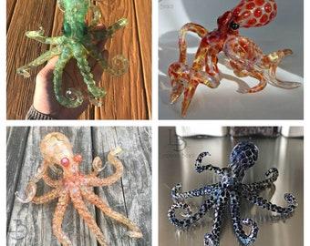 MADE to ORDER Handmade in USA Blown Glass Octopus Glass Octopus Sculpture Glass Art Beach House Gifts Oceans Sea Life Coastal Decor