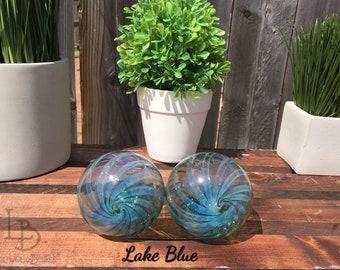 Hand Blown Glass Christmas Ornament Garden Sun Catcher-Lake Blue Twist