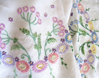 Vintage Hand Embroidered Multicoloured Tablecloth