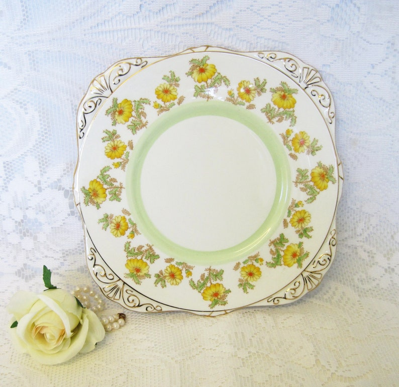 Royal Grafton China Cake or Bread Plate Grenville Pattern Yellow Marigolds with Orange Centres Hand Painted Over Transfer Print