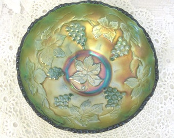 Vintage Carnival Glass Bowl, Iridescent Green, Grapevine Pattern