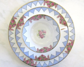 RESERVED:   Paragon China Tea Trio, Geometric Design with Roses c1923-33, Reserved for Janice