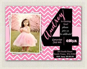 4 Year Old Invite Etsy Birthday Party Invitations