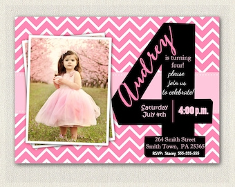 Girls 4th Birthday Invitations Printable Fourth Invitation Party Pink Black Chevron Four Year Old