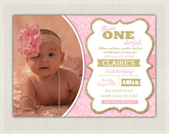 First Birthday Invitation Damask Princess Invitations Pink And Gold